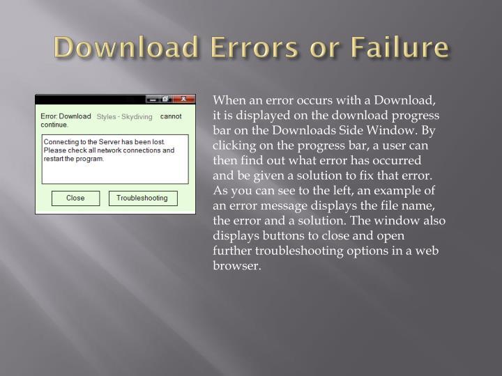 Download Errors or Failure