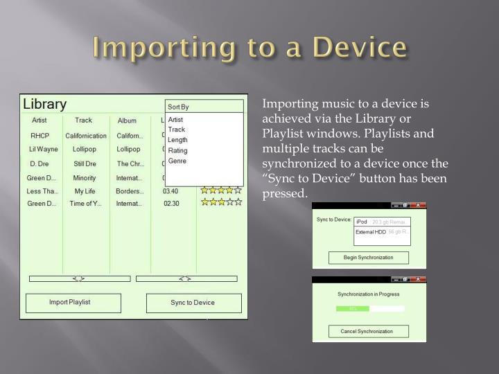 Importing to a Device