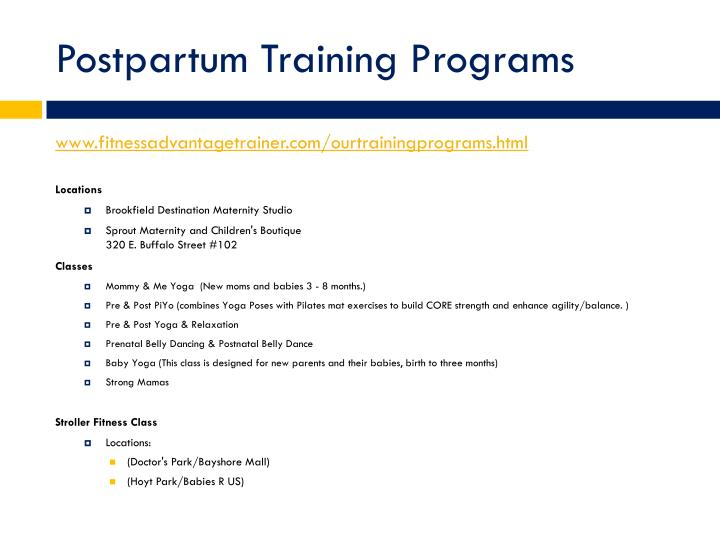 Postpartum Training Programs