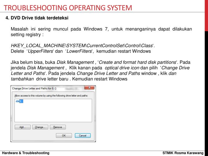 TROUBLESHOOTING Operating system