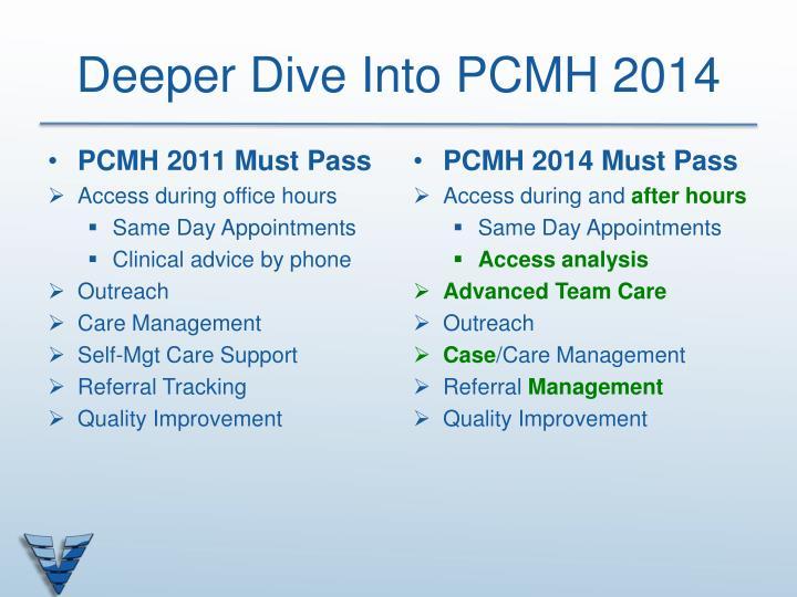 Deeper Dive Into PCMH 2014