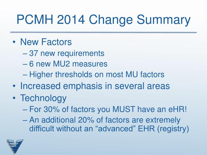 PCMH 2014 Change Summary