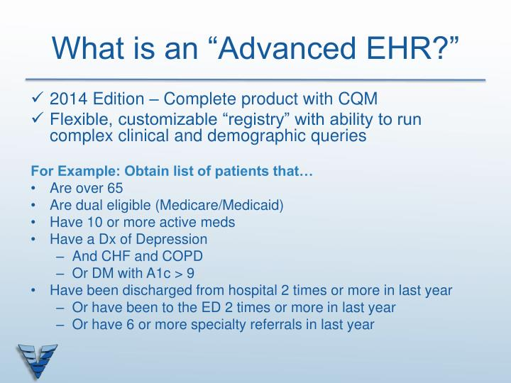 "What is an ""Advanced EHR?"""