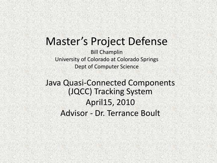 Master's Project Defense