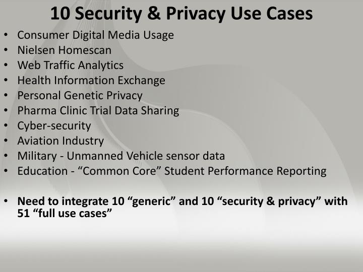 10 Security & Privacy Use Cases