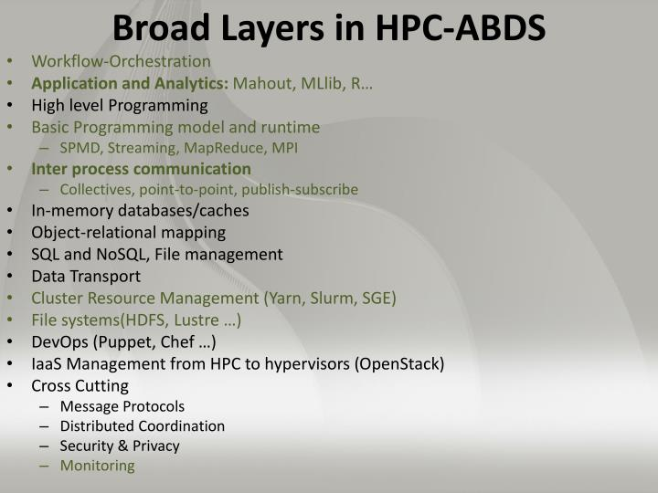 Broad Layers in HPC-ABDS