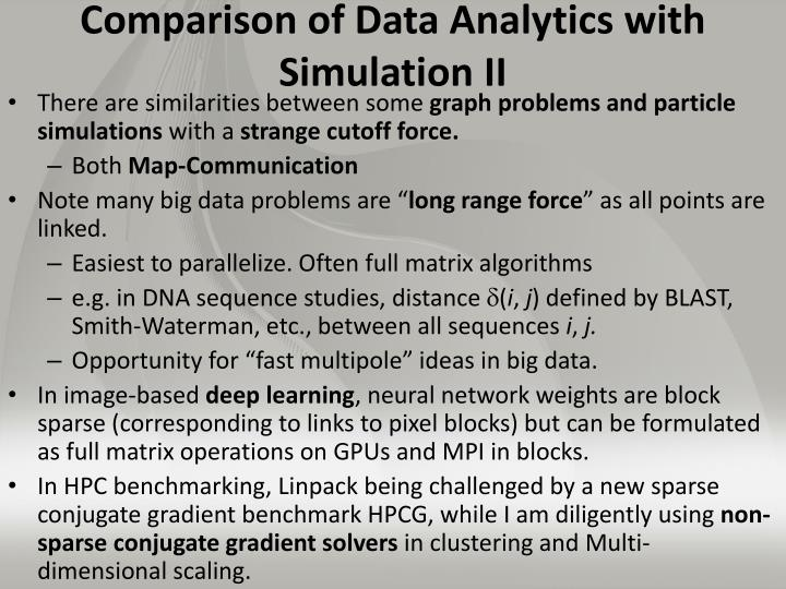 Comparison of Data Analytics with Simulation II