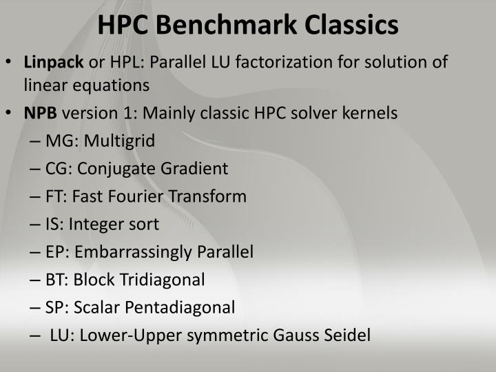 HPC Benchmark Classics