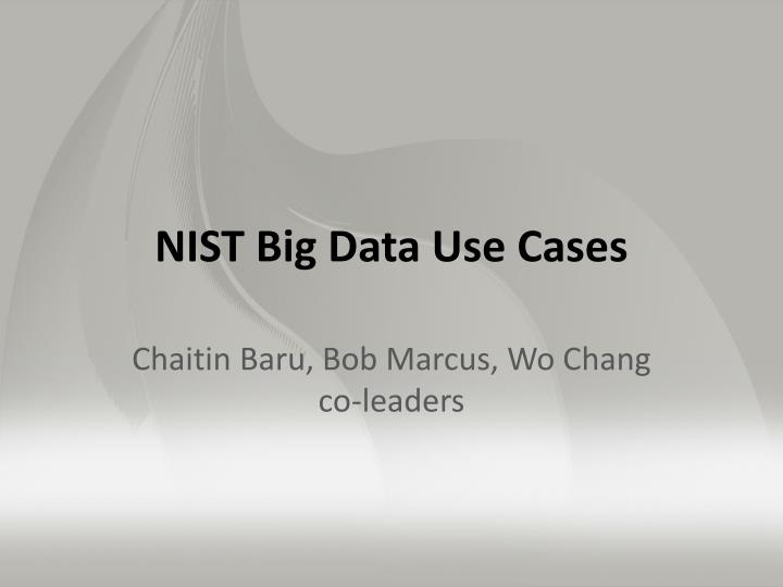 NIST Big Data Use Cases