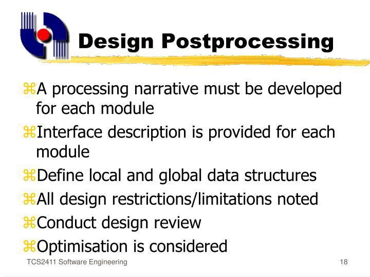 Design Postprocessing