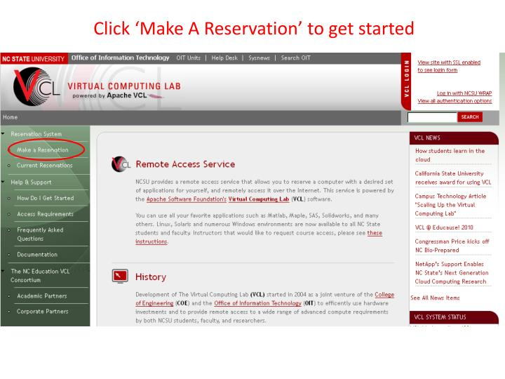 Click 'Make A Reservation' to get started