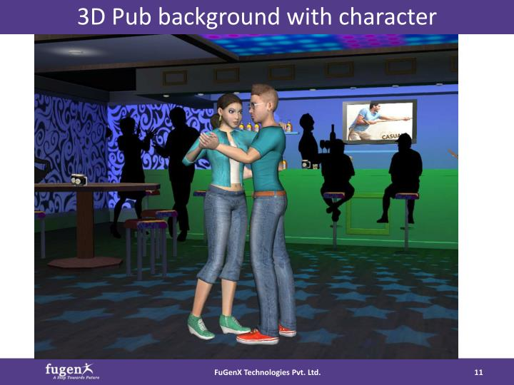 3D Pub background with character