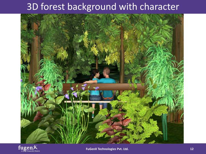 3D forest background with character