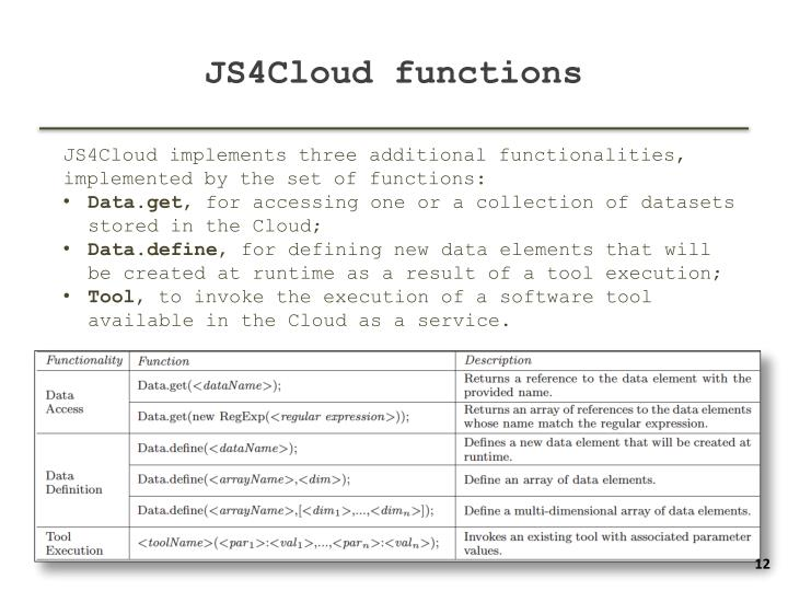 JS4Cloud functions