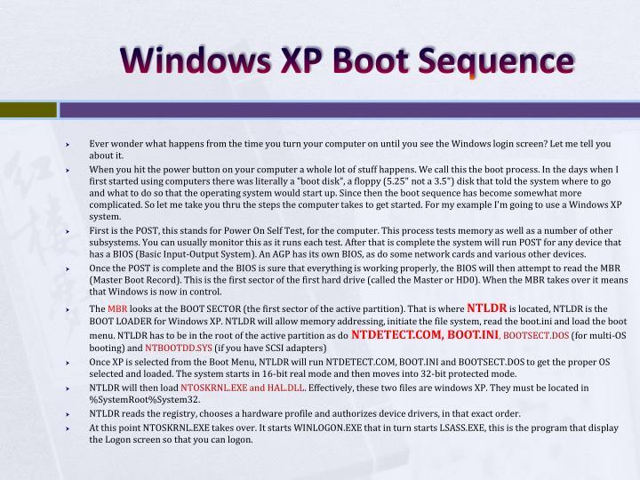Windows XP Boot