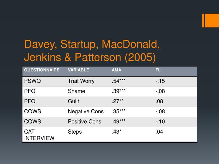 Davey, Startup, MacDonald, Jenkins & Patterson (2005)