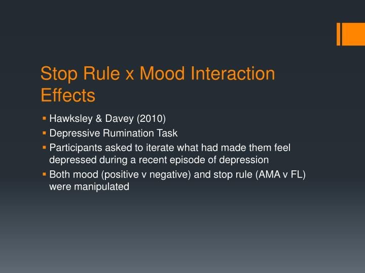 Stop Rule x Mood Interaction Effects