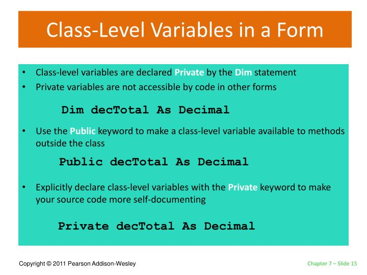 Class-Level Variables in a Form