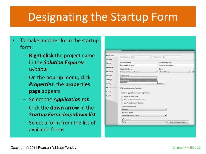 Designating the Startup Form