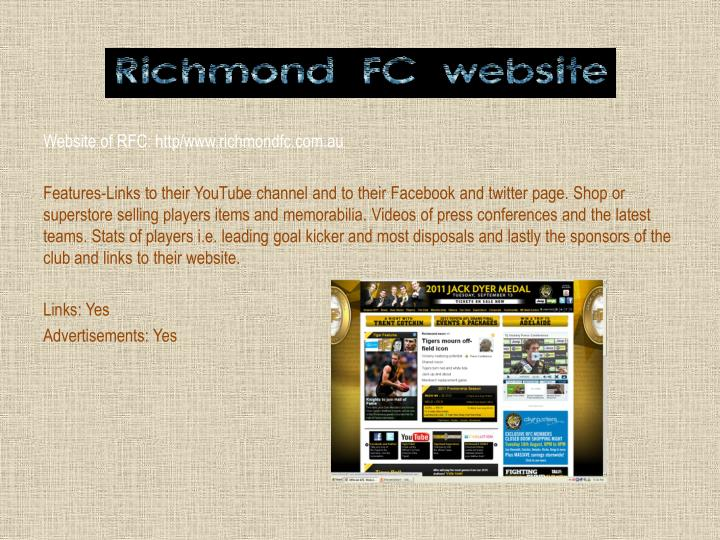 Website of RFC: http/www.richmondfc.com.au