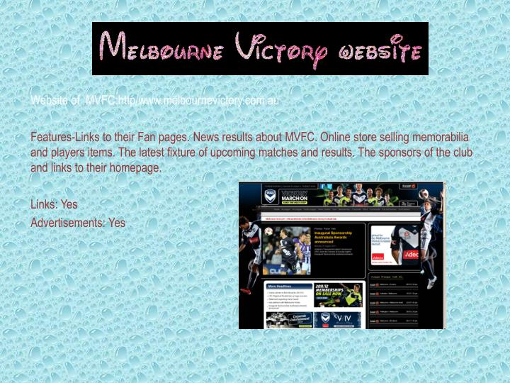 Website of  MVFC:http/www.melbournevictory.com.au