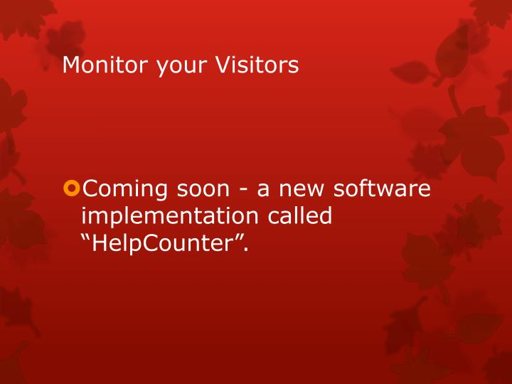 Monitor your Visitors