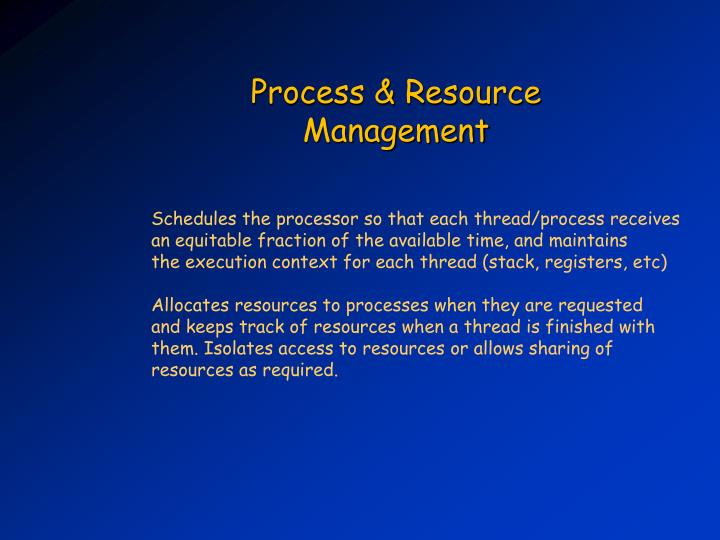 Process & Resource Management