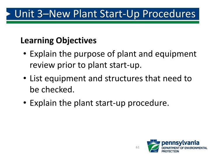 Unit 3–New Plant Start-Up Procedures