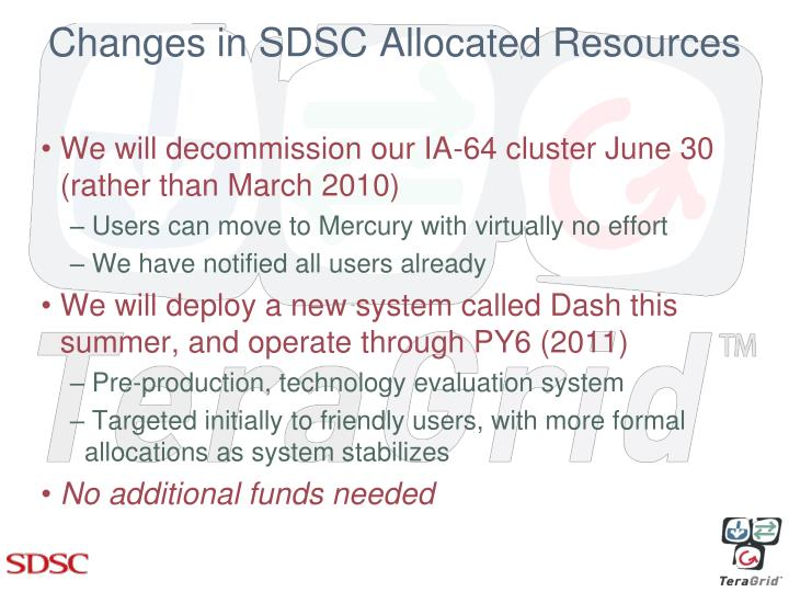 Changes in SDSC Allocated Resources