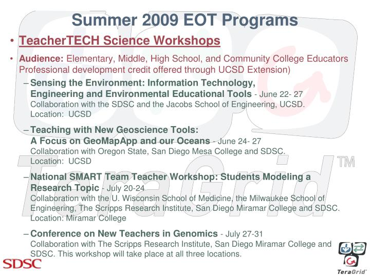 Summer 2009 EOT Programs