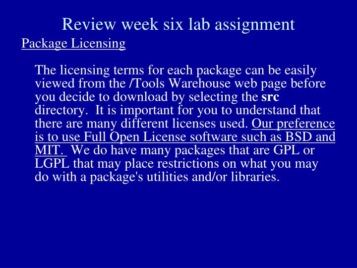 Review week six lab assignment