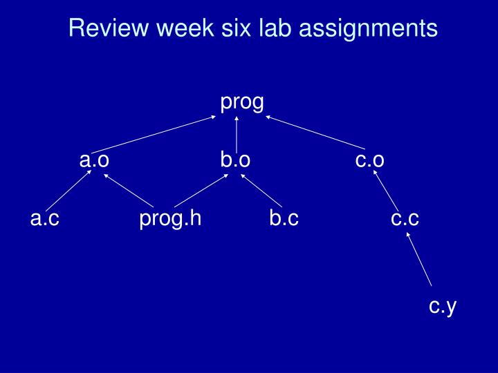 Review week six lab assignments