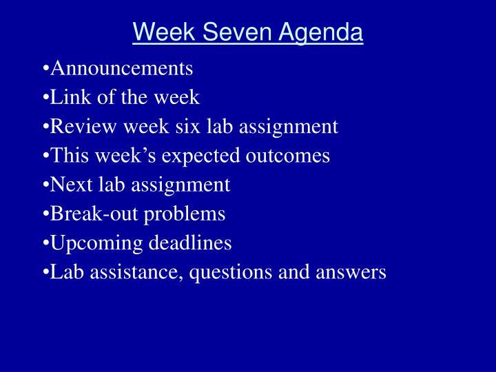 Week Seven Agenda