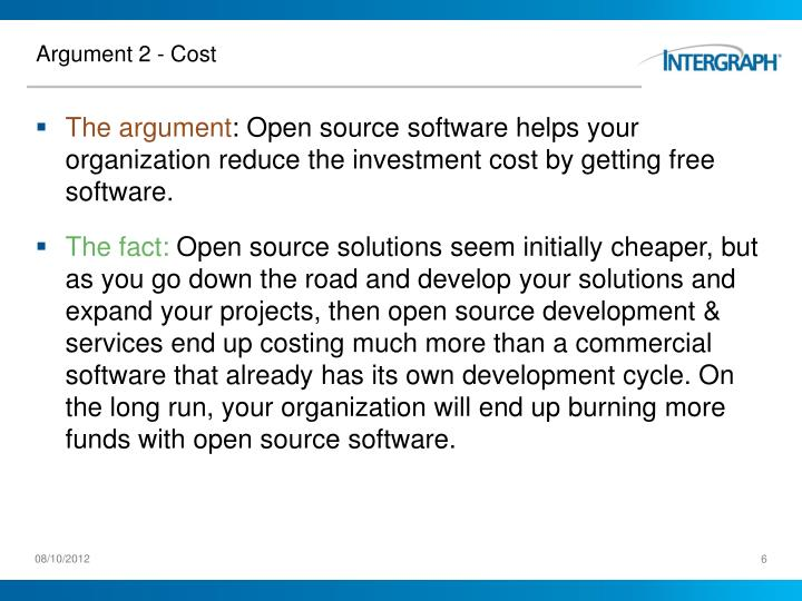 Argument 2 - Cost
