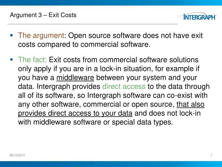 Argument 3 – Exit Costs