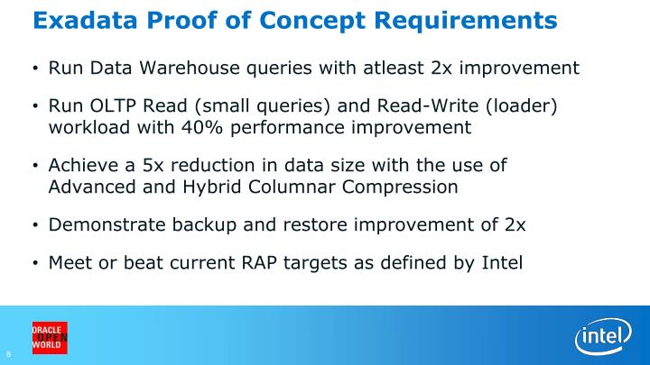 Exadata Proof of Concept Requirements