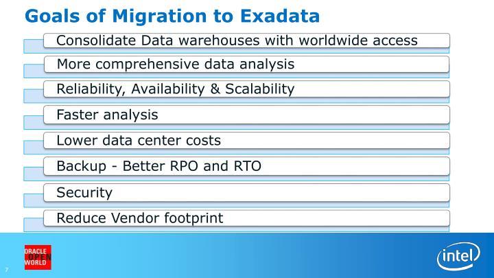 Goals of Migration to Exadata