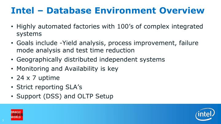 Intel database environment overview