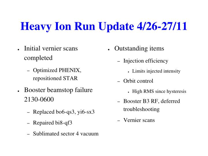 Heavy Ion Run Update 4/26-27/11