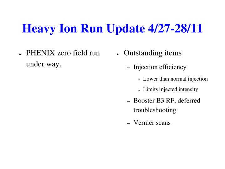 Heavy Ion Run Update 4/27-28/11