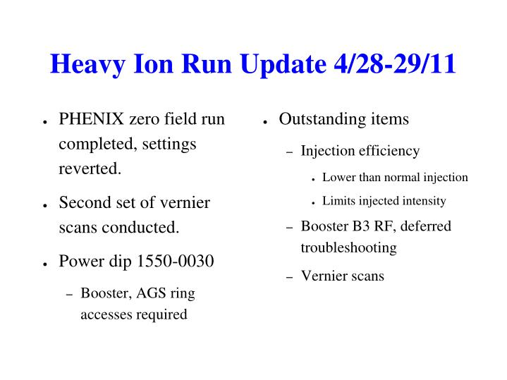 Heavy Ion Run Update 4/28-29/11
