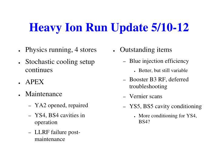 Heavy Ion Run Update 5/10-12