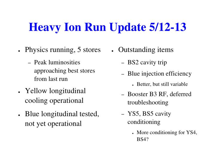 Heavy Ion Run Update 5/12-13