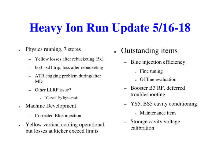 Heavy Ion Run Update 5/16-18