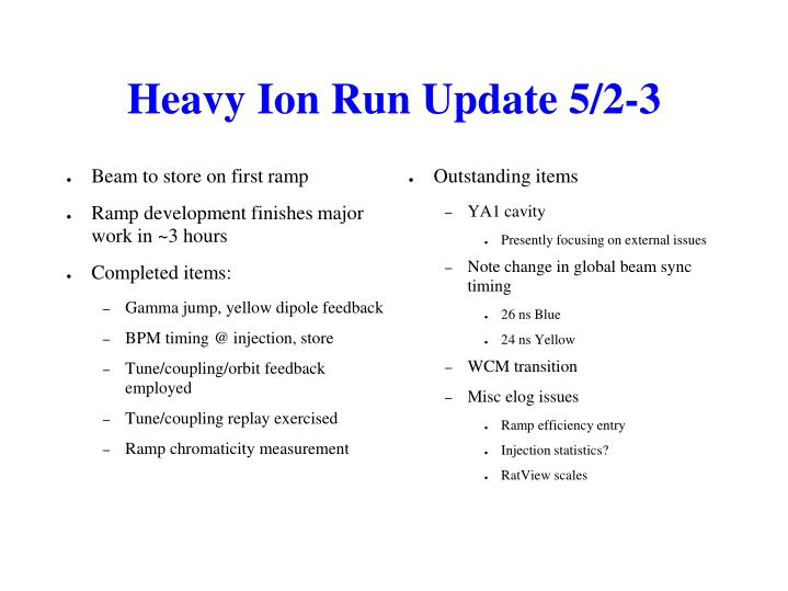 Heavy Ion Run Update 5/2-3