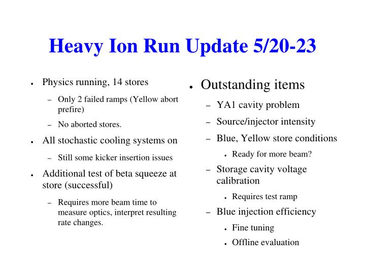 Heavy Ion Run Update 5/20-23