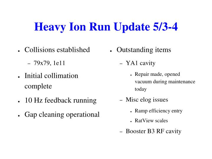 Heavy Ion Run Update 5/3-4