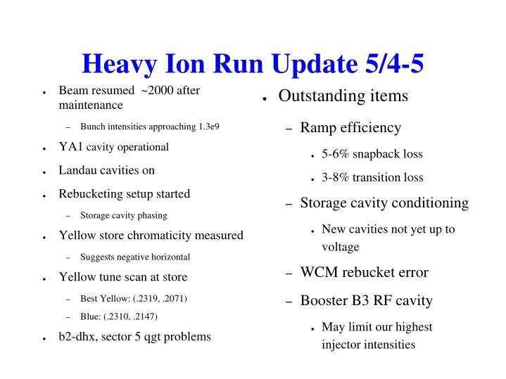 Heavy Ion Run Update 5/4-5