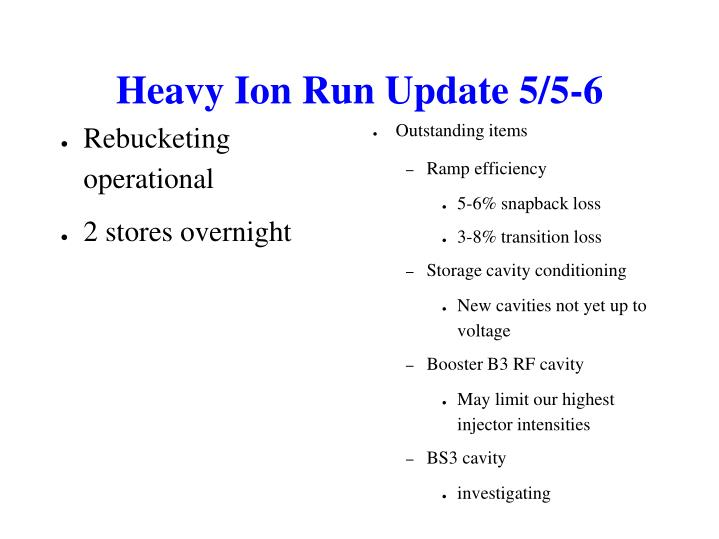 Heavy Ion Run Update 5/5-6