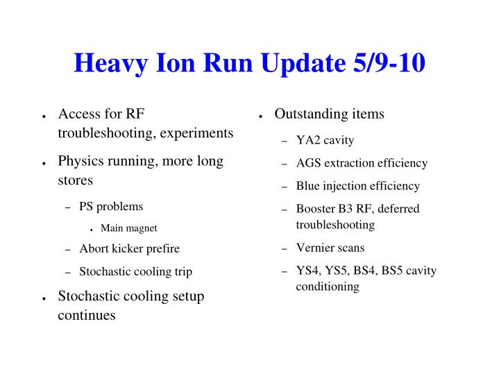 Heavy Ion Run Update 5/9-10